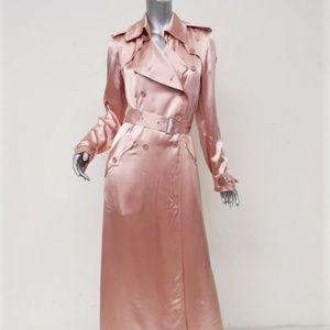 Fleur du Mal Satin Trench Coat Blush Pink